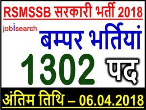 राजस्थान अधीनस्थ और मंत्री सेवा चयन बोर्ड(RSMSSB) भर्ती 2018: 1302 पोस्ट/ सूचना सहायक पदों पर निकली हैं भर्तीयां।