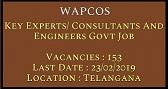हैदराबाद (WAPCOS) भर्ती 2019 / पोस्ट 153/ आवेदन/ एप्लीकेशन फॉर्म