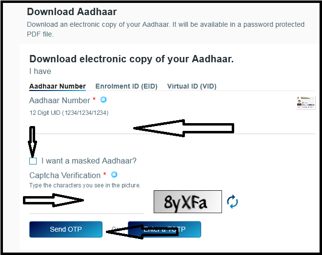 E aadhar download Process 2