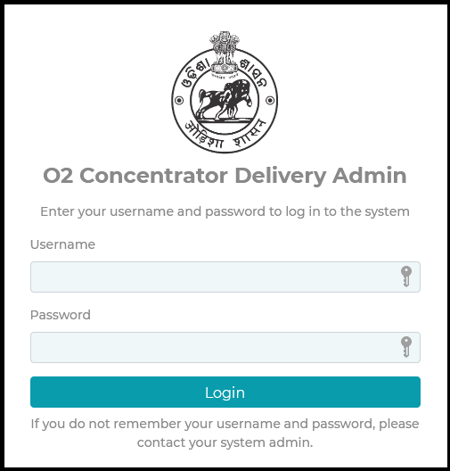 Admin login Oxygen Concentrator Supply Yojana 2