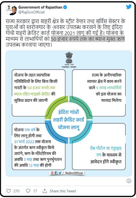 Indira Gandhi Shehri Credit Card scheme