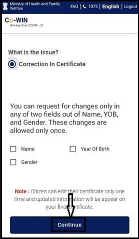 Correction Option cowin