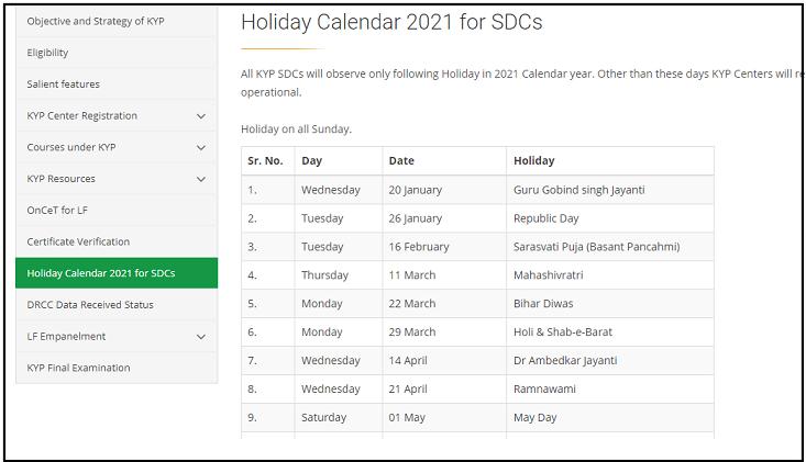 bihar kushal program holiday calander